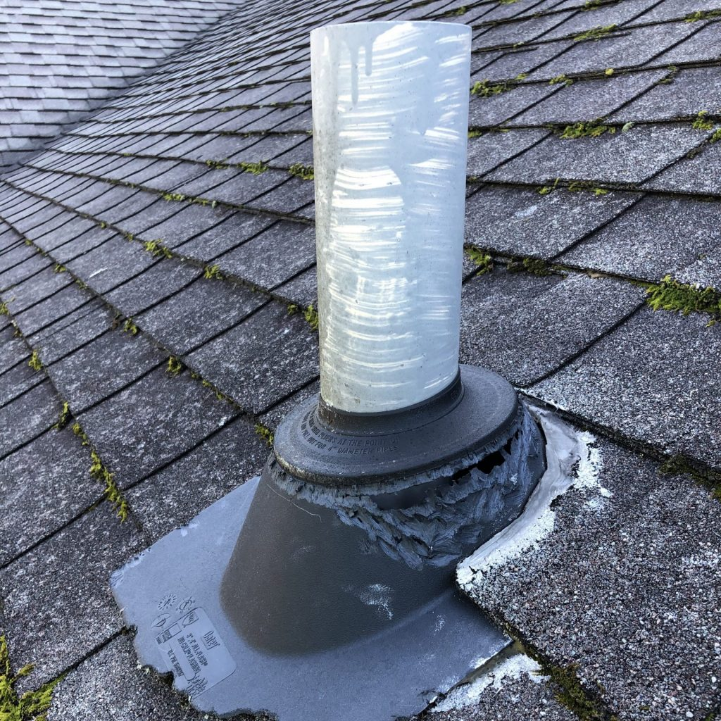 This is a pipe boot on a roof. It it old and needs to be repaired.