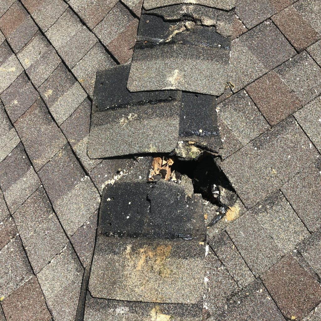 This roof was damaged by a falling tree. The capping has been damaged and needs to be replaced.